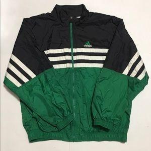 VTG 80s 90s ADIDAS GREEN/BLK Windbreaker Full Zip